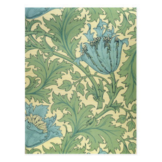 William Morris Anemone Design Floral Vintage Art Postcard