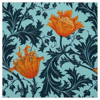William Morris Anemone, Indigo Blue and Coral Fabric