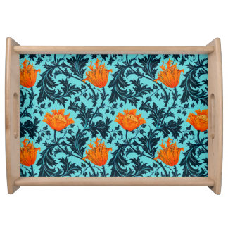 William Morris Anemone, Indigo Blue and Coral Serving Tray