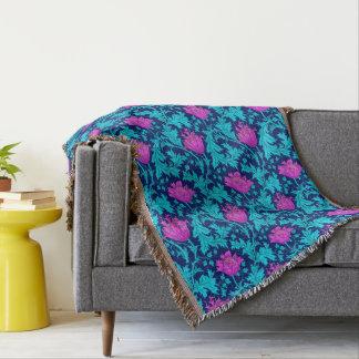 William Morris Anemone, Navy, Turquoise & Magenta Throw Blanket