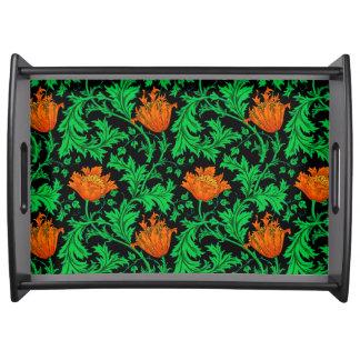 William Morris Anemone, Orange, Green and Black Serving Tray