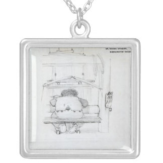William Morris at his loom, caricature Silver Plated Necklace