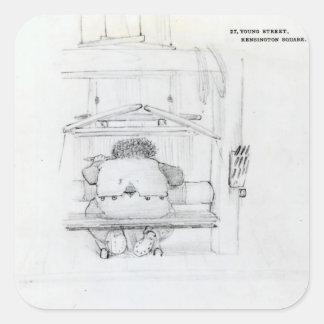 William Morris at his loom, caricature Square Sticker