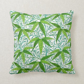 William Morris Bamboo Print, Green and White Cushion