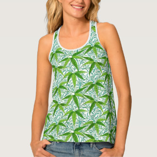 William Morris Bamboo Print, Green and White Tank Top