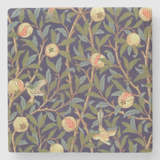 William Morris Bird And Pomegranate Vintage Floral Stone Coaster