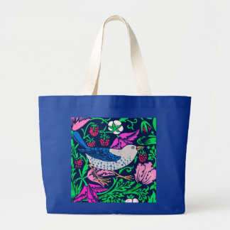 William Morris Bird & Flower Tile, Navy & Fuchsia Large Tote Bag