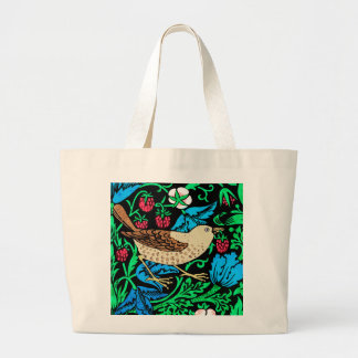 William Morris Bird & Flower Tile, on Black Large Tote Bag