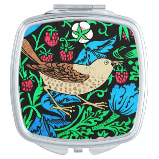 William Morris Bird & Flower Tile, on Black Travel Mirrors
