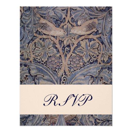 William Morris Bird Pattern Wedding Reply Cards Announcement