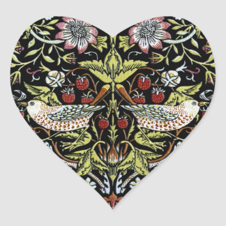 William Morris birds and flowers 2 Heart Sticker