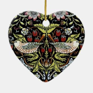 William Morris birds and flowers 2 updated Ceramic Heart Decoration
