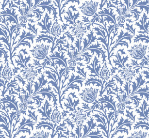 William Morris Blue And White Thistle Custom Color Shower Curtain