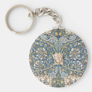 William Morris Blue Floral Basic Round Button Key Ring