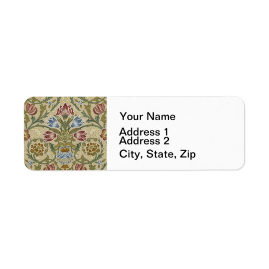 William Morris Brocade Floral Pattern Return Address Label