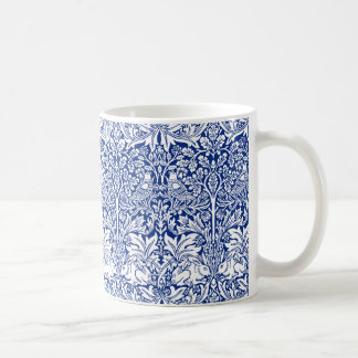 William Morris Brother Rabbit Blue Vintage Pattern Basic White Mug
