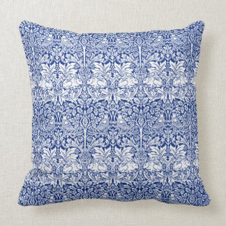 William Morris Brother Rabbit Blue Vintage Pattern Cushion