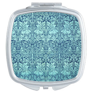 William Morris Brother Rabbit Pattern in Blue Compact Mirror