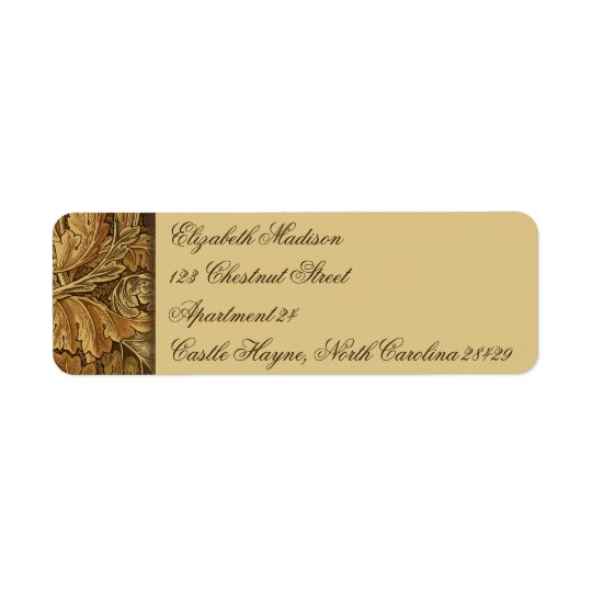William Morris Brown Leaves Return Address Labels