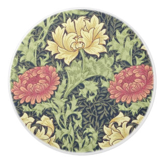 William Morris Chrysanthemum Vintage Floral Art Ceramic Knob