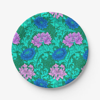 William Morris Chrysanthemums, Aqua and Violet 7 Inch Paper Plate