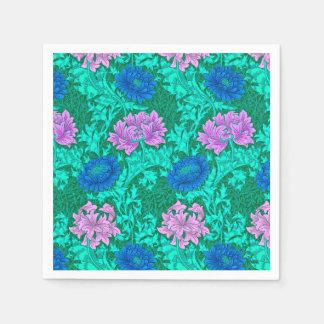 William Morris Chrysanthemums, Aqua and Violet Disposable Napkin