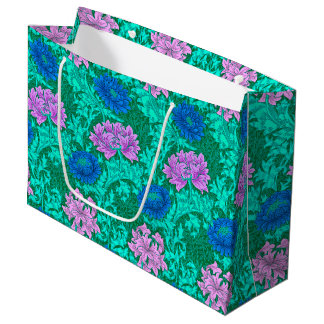 William Morris Chrysanthemums, Aqua and Violet Large Gift Bag