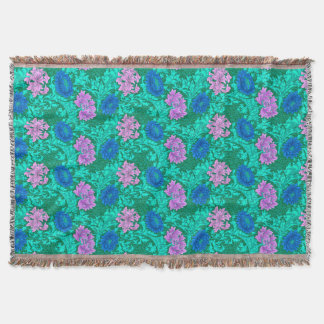 William Morris Chrysanthemums, Aqua and Violet Throw Blanket