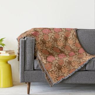 William Morris Chrysanthemums, Brown and Rust Throw Blanket
