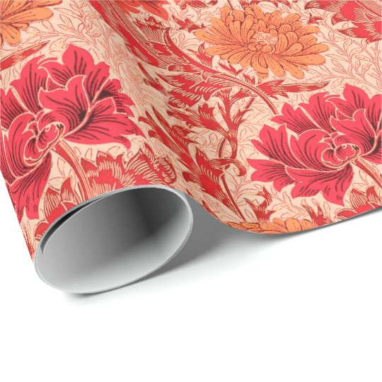 William Morris Chrysanthemums, Coral Orange Wrapping Paper