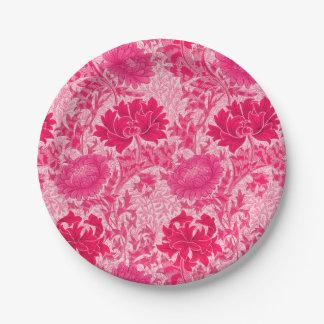 William Morris Chrysanthemums, Fuchsia Pink 7 Inch Paper Plate