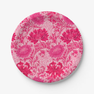William Morris Chrysanthemums, Fuchsia Pink Paper Plate