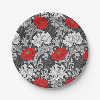 William Morris Chrysanthemums, Gray and Red 7 Inch Paper Plate