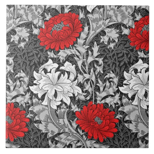 William Morris Chrysanthemums, Grey and Red Large Square