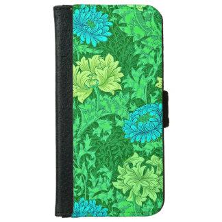 William Morris Chrysanthemums, Lime Green & Aqua iPhone 6 Wallet Case