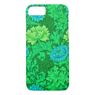 William Morris Chrysanthemums, Lime Green & Aqua iPhone 8/7 Case