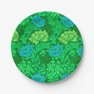 William Morris Chrysanthemums, Lime Green & Aqua Paper Plate