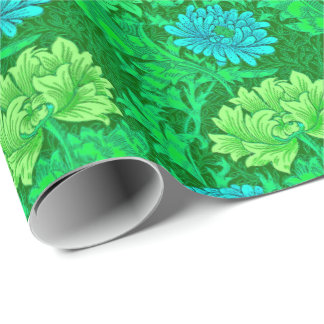 William Morris Chrysanthemums, Lime Green & Aqua Wrapping Paper
