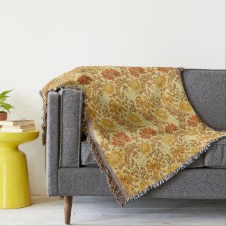 William Morris Chrysanthemums, Mustard Gold Throw Blanket