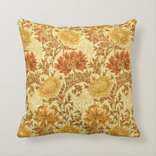 William Morris Chrysanthemums, Mustard Gold Throw Pillow