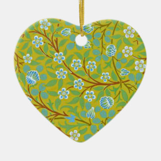 William Morris - Clover (yellow and blue) Ceramic Heart Decoration