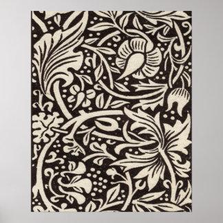 William Morris Daffodil Floral Pattern Vintage Poster