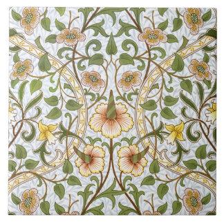 William Morris Daffodil Pattern Art Tile or Trivet