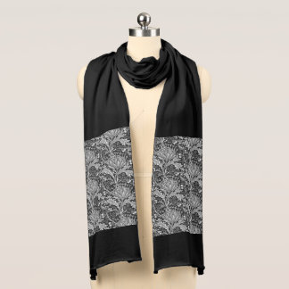 William Morris Damask, Dark Gray / Grey Scarf