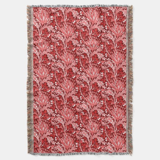 William Morris Damask, Dark Red & White Throw