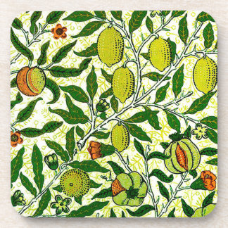 William Morris Exotic Fruit, Lemon Yellow Drink Coaster