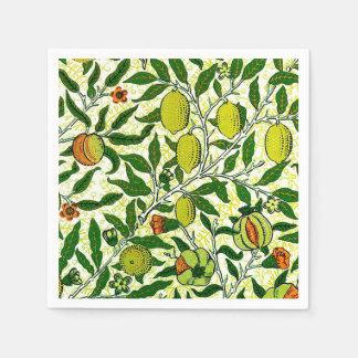 William Morris Exotic Fruit, Lemon Yellow Paper Napkins