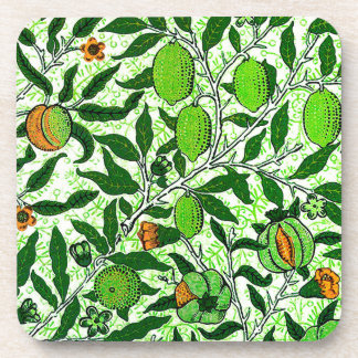 William Morris Exotic Fruit, Lime Green Beverage Coasters