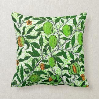 William Morris Exotic Fruit, Lime Green Throw Pillow