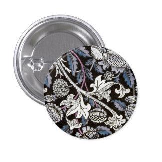 William Morris fabric black and white design 3 Cm Round Badge